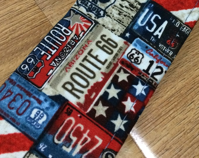 Route 66 guitar strap // retro road images and car number plates // Route 66, speed 65, road trip USA, stars and stripes