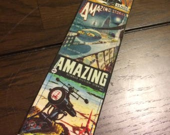 Sci-fi guitar strap handmade // Amazing Stories vintage science fiction magazine covers and others // retro futuristic cyberpunk steampunk