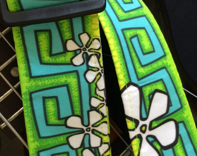 Lime surf guitar strap // white frangipani flowers, green blue lemon tiki retro luau guitarist music gift // ukulele strap as custom order