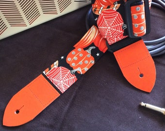 Pumpkin guitar strap // creepy cool orange Halloween pumpkins on a black background // unique gift punk guitar strap for her or for him