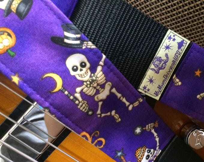 Purple Halloween guitar strap // dancing skeletons on a purple background // cool guitar strap for punk guitarist gift // unique gift