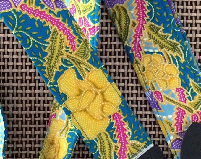 Flower guitar strap // psychedelic batik fabric // floral yellow, pink, purple, green // cool guitarist gift for wife, girlfriend, daughter
