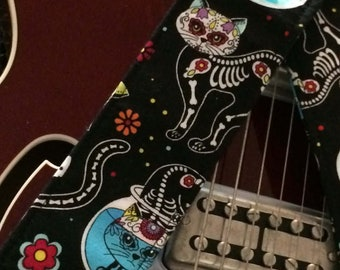 Day of the dead cat guitar strap // skeleton kitties on black cat guitar strap // unique tween teenager gift // suits acoustic electric bass