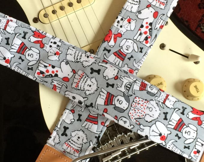 Dog guitar strap // cute kawaii dogs -- black, grey, white and red // unique & cool guitarist gift // custom guitar strap // musician gift