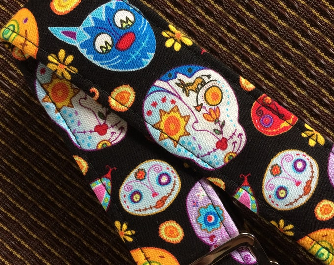 Calavera ukulele strap, mandolin strap or child guitar strap // cool sugar skulls day of the dead dia de los muertos // tween gift teenager