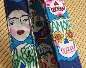 Calavera ukulele strap, mandolin strap or child guitar strap // colourful sugar skulls // day of the dead // dia de muertos // Frida Kahlo