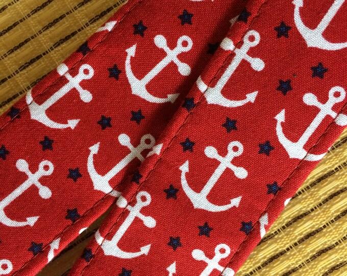 Anchors ukulele strap // white anchors on a dark red background // cool retro maritime nautical gift // music teacher gift // mandolin strap