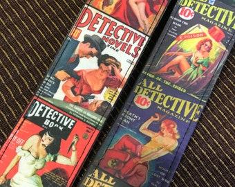 Detective magazine guitar strap handmade // vintage femme fatale crime fiction covers // retro gumshoe story heroines // guitarist gift