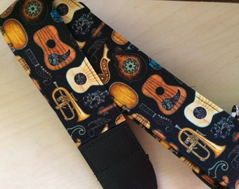 Musical instrument guitar strap // guitars and other instruments on black // unique music teacher gift // anniversary gift // teenager gift