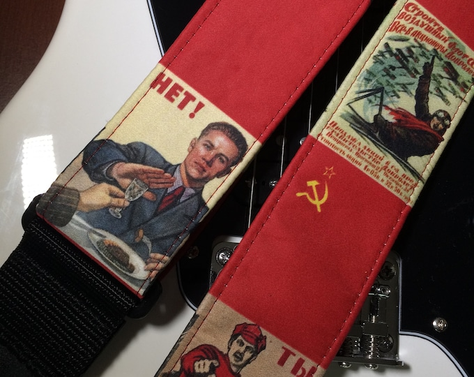 Soviet WWII propaganda guitar strap // ONE only OOAK // vintage war images // one-of-a-kind retro guitar strap