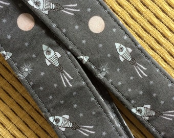 Space ukulele strap, mandolin strap or child guitar strap // white rockets on grey // unique musician gift // space gift // pastel punk
