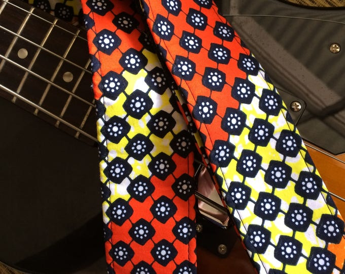 African guitar strap // wax print fabric in orange, black and yellow // colorful guitar strap // unique guitar straps // guitarist gift