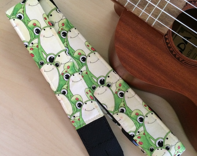Frog ukulele strap, mandolin strap or child guitar strap // cute kawaii cream and green frogs // tween teenager gift or teacher gift