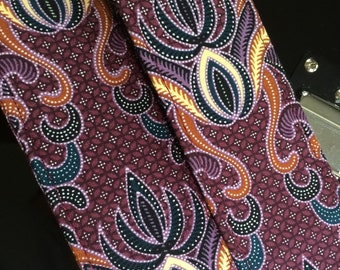Java batik guitar strap // psychedelic hippie guitar strap batik fabric burgundy, yellow, black, white lotus shapes