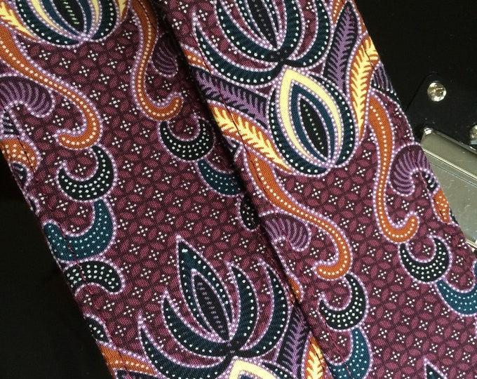 Java batik guitar strap // psychedelic hippie guitar strap batik fabric burgundy, yellow, black, white lotus shapes