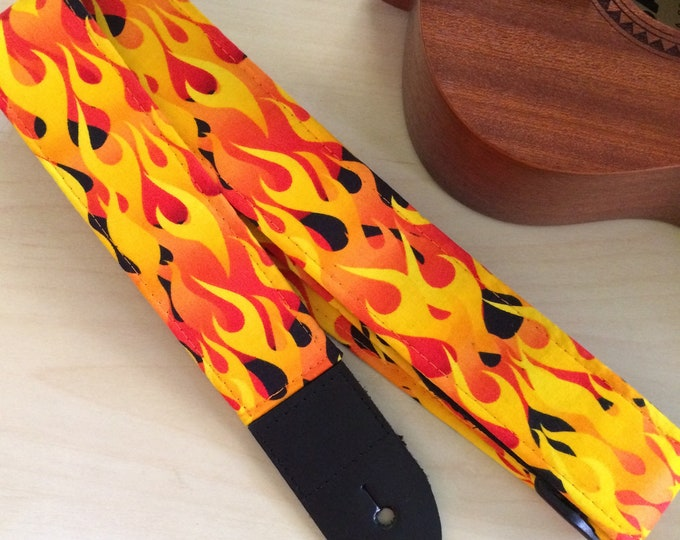 Flame ukulele, mandolin or child guitar strap // hot as hell retro orange, yellow, black // unique musician gift