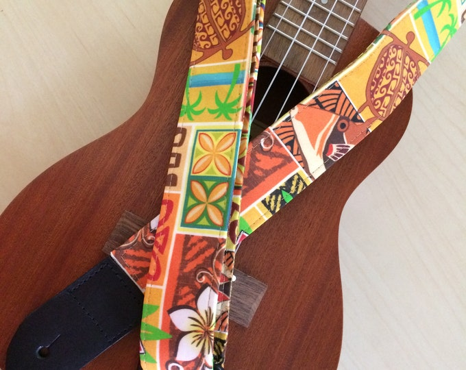 Hawaiian print ukulele strap, mandolin strap or child guitar strap // orange, yellow, brown and green // unique gift for tween