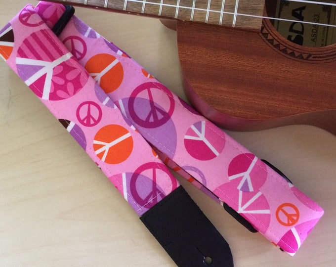 Pink ukulele strap, mandolin strap or child guitar strap // groovy 60s-inspired hippie peace signs, shades of pink, orange, lilac and white