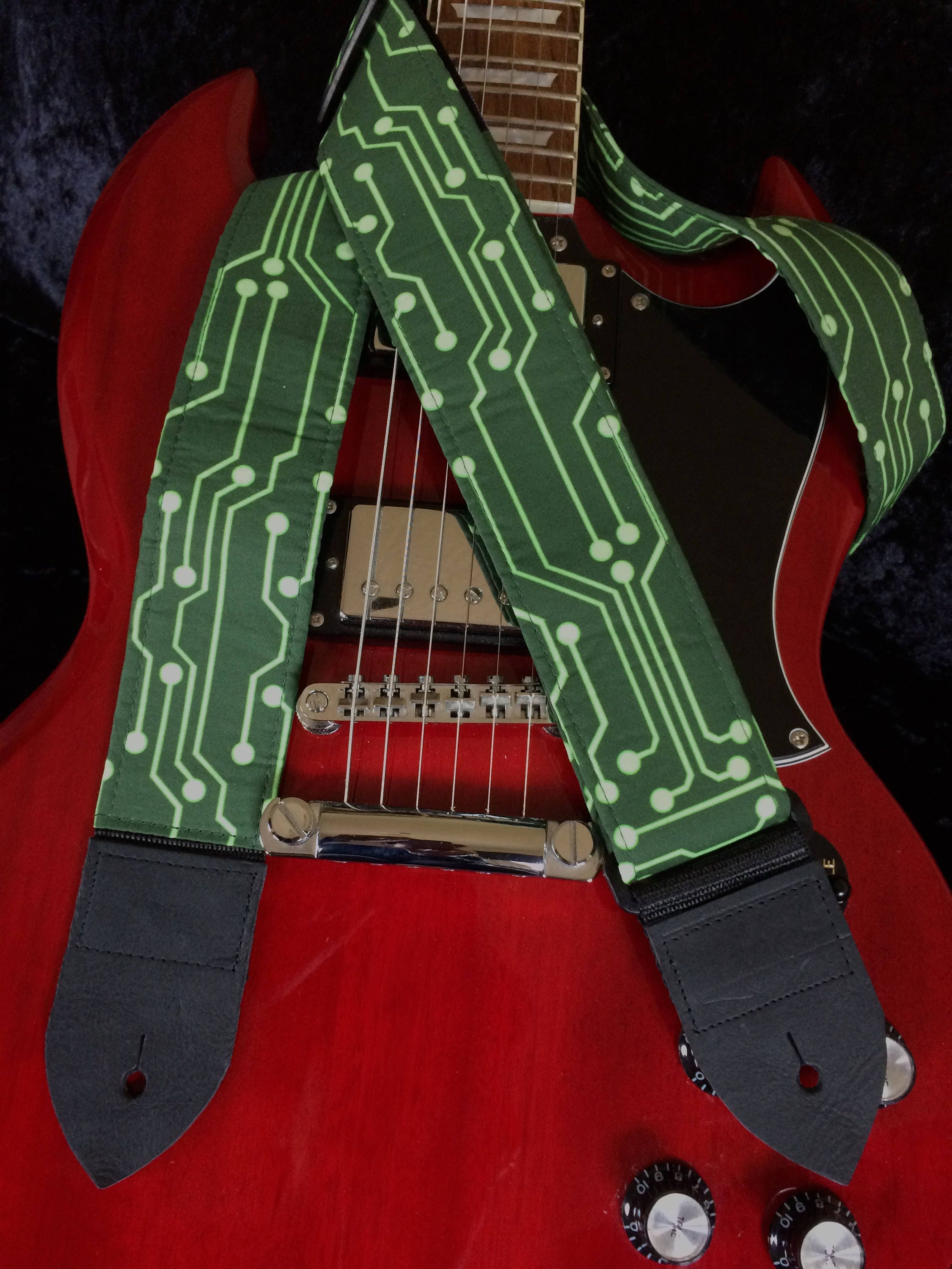 Circuit Board Guitar Strap Techno Lime Pcb Traces On Dark Green Trace Background Futuristic Cyberpunk Guitarist Gift Electronics Geekery