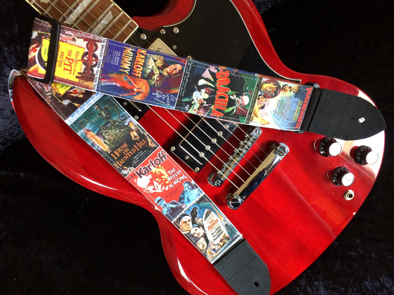 b movie guitar strap handmade vintage mid century horror movies retro lo fi schlock. Black Bedroom Furniture Sets. Home Design Ideas