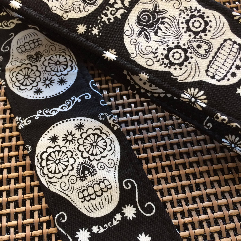 Sugar Skull Guitar Strap Black And White Gift Sugar Skulls