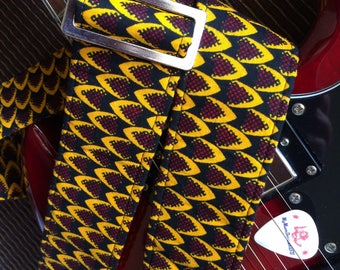 African guitar strap // reptilian snakeskin pattern black, yellow, burgundy // wax print fabric guitar strap unique guitarist gift