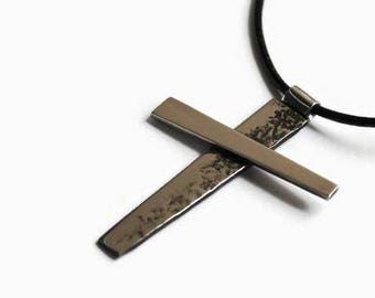 Forged Steel Cross, Stainless Steel Cross, Wrought Steel Cross Necklace, Hammered Cross,  Abstract Mans Cross Pendant, Art Cross Necklace