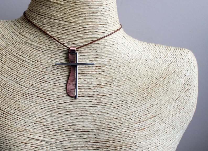 Copper Steel Cross Necklace Art Cross Necklace Stainless Steel Copper Cross Abstract Mans Cross Pendant Stainless Steel Cross Necklace