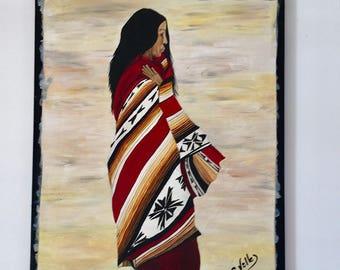 Acrylic Portrait of a Latin American woman