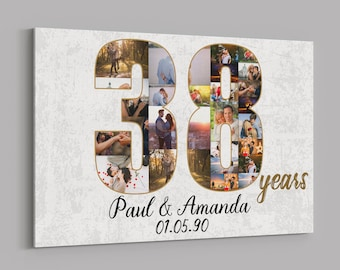 38th Anniversary Gifts Custom Collage Photo Canvas Personalized Wall Art Wedding Anniversary Gift 38 Years Married Gift Wife Husband Present