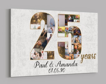 25th Anniversary Gifts Custom Collage Photo Canvas Personalized Wall Art Wedding Anniversary Gift 25 Years Married Gift Wife Husband Present