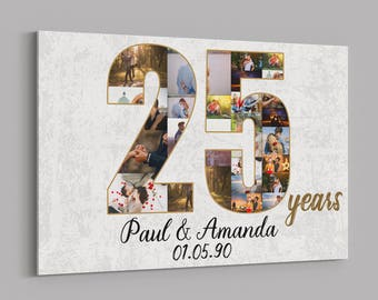 25th Anniversary Gifts Custom Collage Photo Canvas Personalized Wall Art Wedding Anniversary Gift 25 Years Married Gift Wife Husband Present  sc 1 st  Etsy & 25th anniversary | Etsy