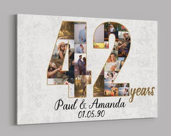 40th Anniversary Gifts Custom Collage Photo Canvas Etsy