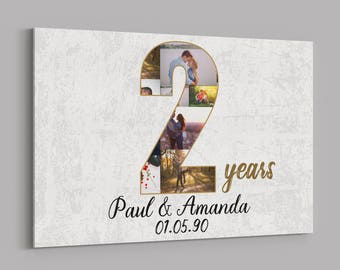 2nd Anniversary Gifts Custom Collage Photo Canvas Personalized Wall Art Wedding Gift Two Year Married Wife Husband Present