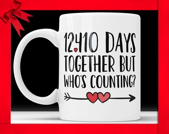 34th Anniversary Coffee Mug - 12410 Days Together But Who's Counting Funny Wedding Anniversary Gift, 34th year Anniversary Gifts Jubilee Cup