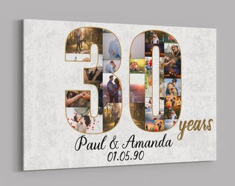 30th Anniversary Gifts Custom Collage Photo Canvas Personalized Wall Art Wedding Anniversary Gift 30 Years Married Gift Wife Husband Present