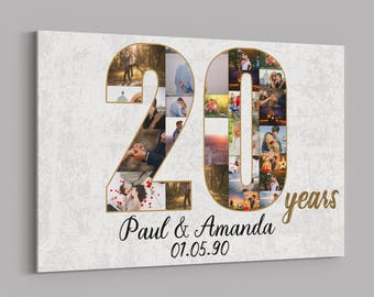 20th Anniversary Gifts Custom Collage Photo Canvas Personalized Wall Art Wedding Anniversary Gift 20 Years Married Gift Wife Husband Present & 20th anniversary | Etsy