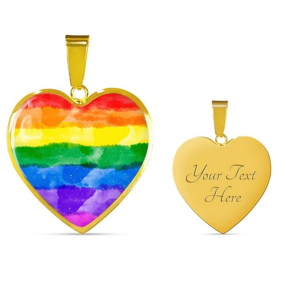 Rainbow LGBT Pride Flag Necklace Personalized Engraved Heart Custom Gift Pendant-Valentines Day Love