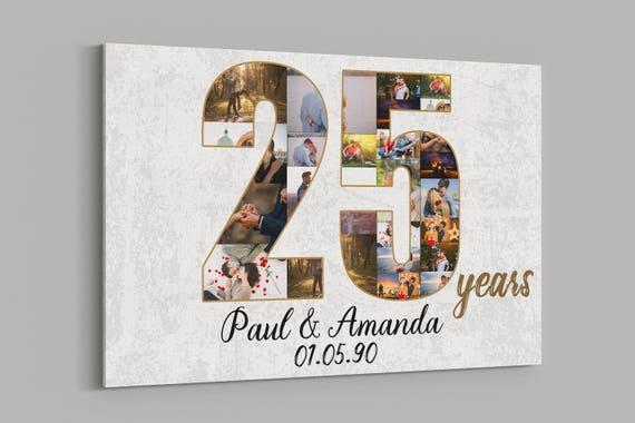 dc2e530ddd4 25th Anniversary Gifts Custom Collage Photo Canvas