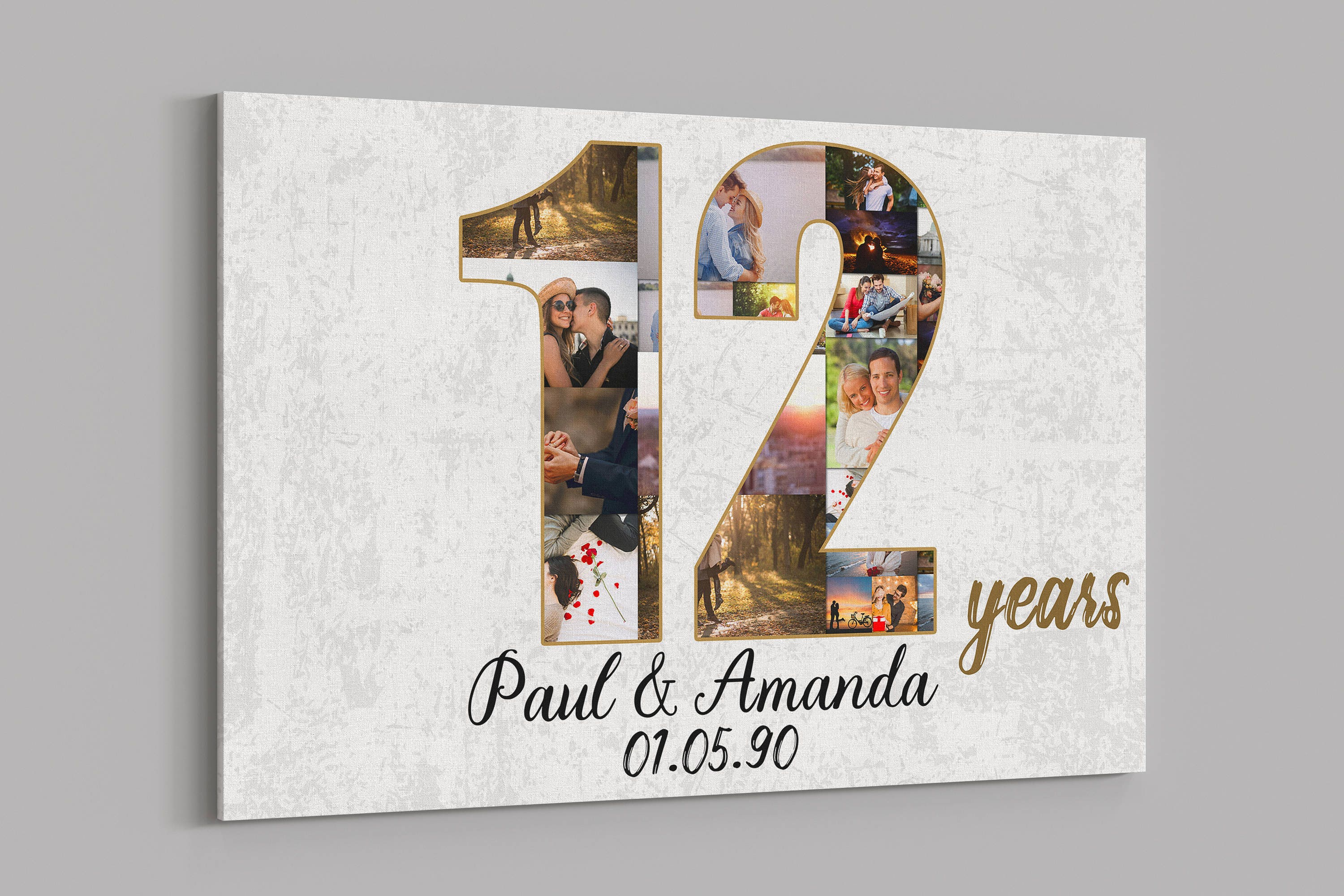 12th Anniversary Gifts Custom Collage Photo Canvas Etsy