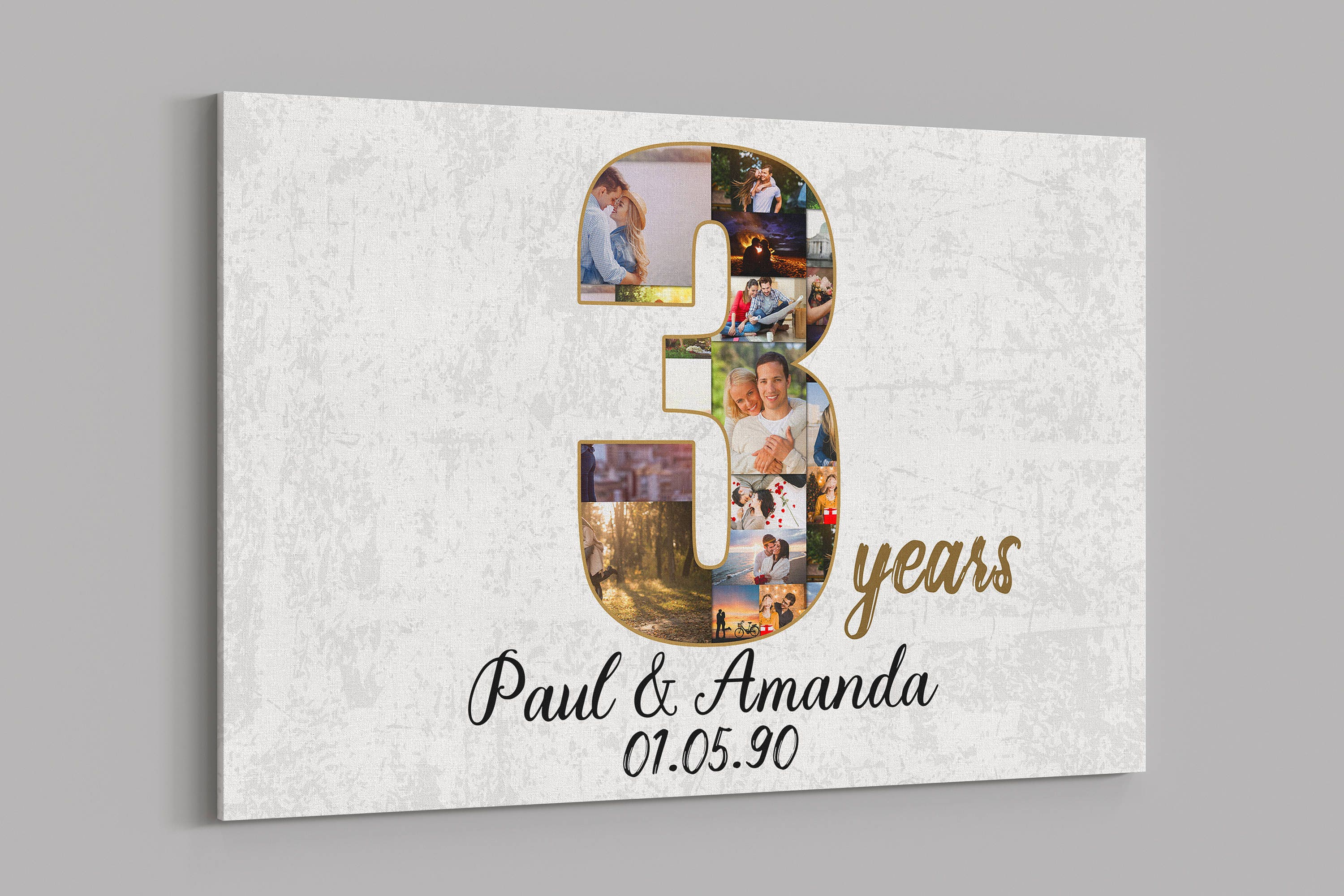 3rd Anniversary Gifts Custom Collage Photo Canvas Personalized Etsy