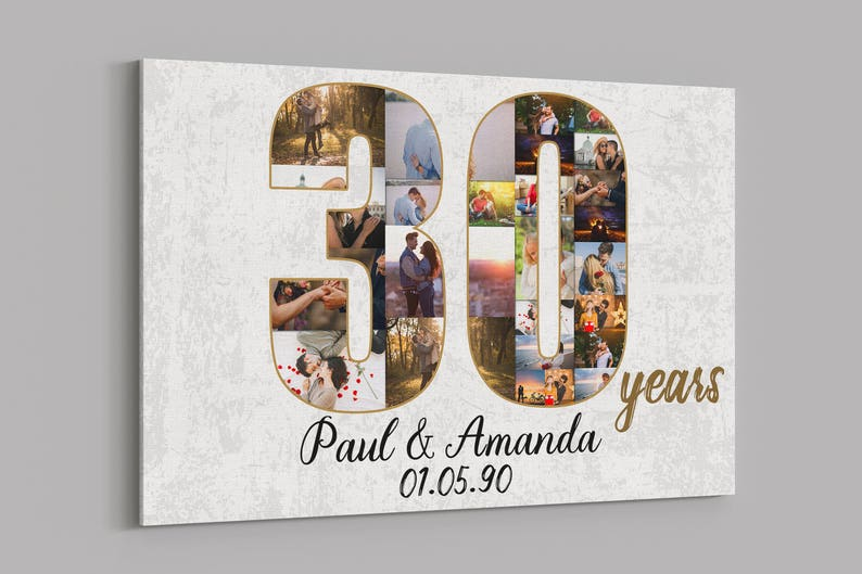 30 Years Wedding Anniversary Gifts.30th Anniversary Gifts Custom Collage Photo Canvas Personalized Wall Art Wedding Anniversary Gift 30 Years Married Gift Wife Husband Present