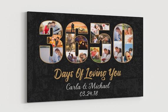 10 Jahre Hochzeit Jahrestag Leinwand 10 Hochzeitstag Geschenk 10 Jahre Hochzeit Foto Collage Custom Jahrestag Jahr Art Geschenk Für Mann