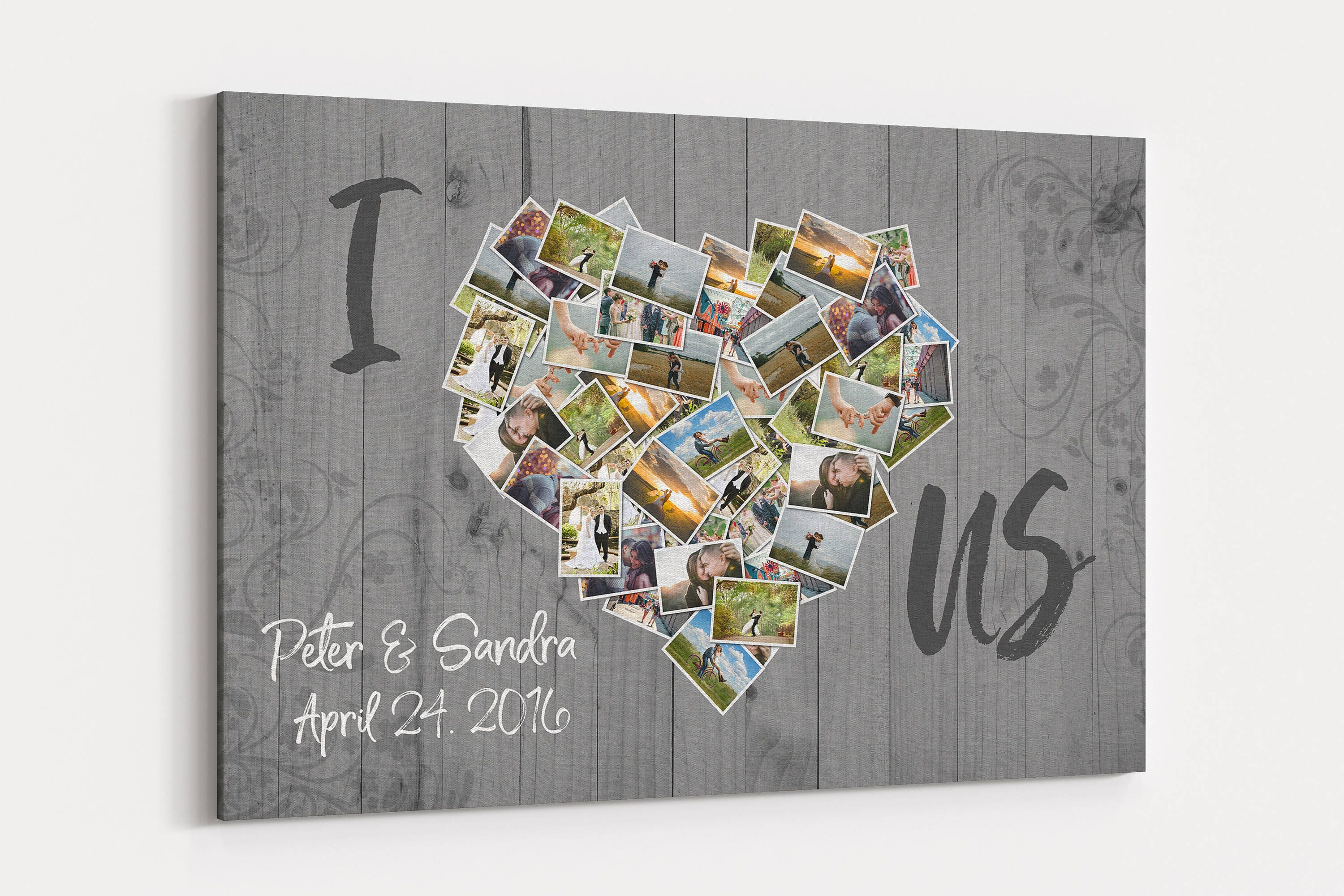 I Love Us Photos Of Us Collage Canvas Custom Personalized Wall Etsy