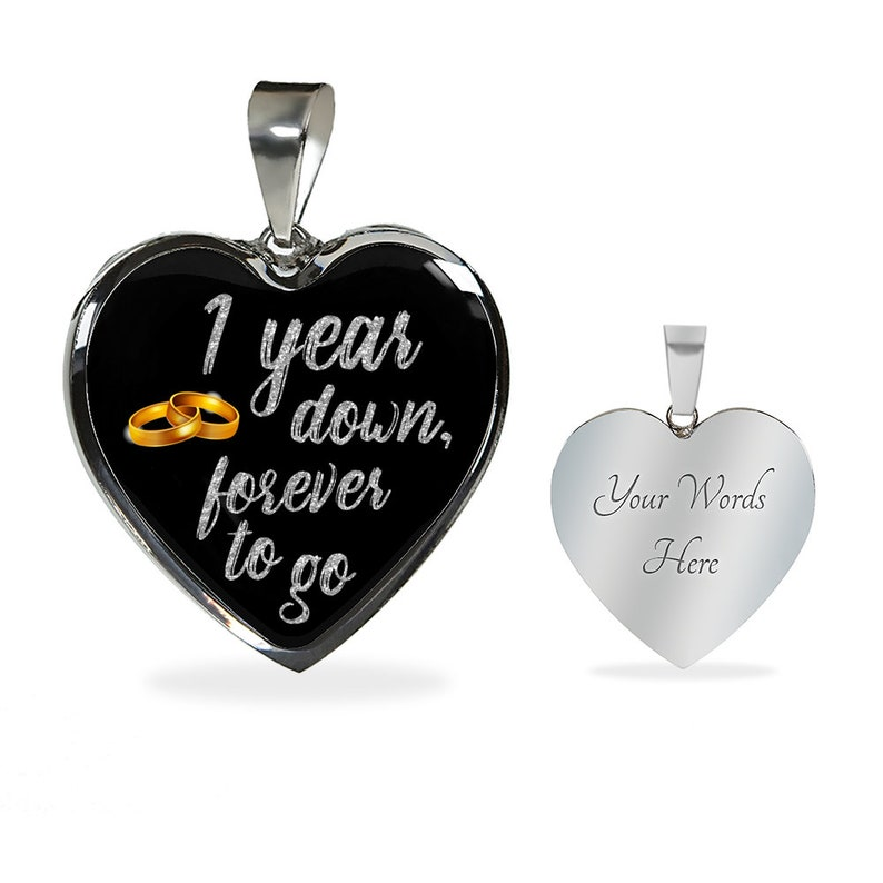 1st Anniversary Gift For Wife Woman For Her For Girlfriend 1 Year Anniversary Necklace Jewelry Engraved Necklace Heart Gold Silver Pendant