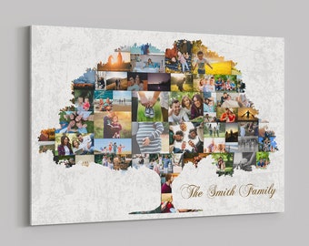 Family Tree Art Print Wall Art Canvas Family Tree Collage Custom Pictures Collage Personalized Wall Decor Family Sign