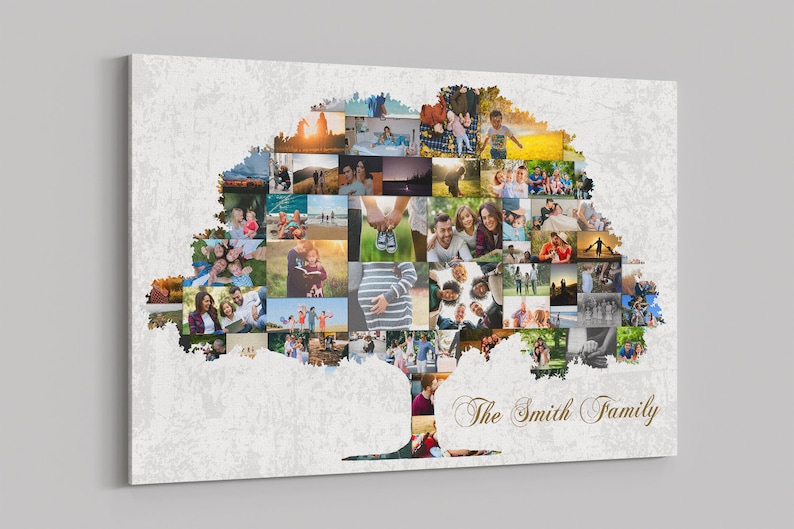 Family Tree Art Print Wall Art Canvas Family Tree Collage image 0