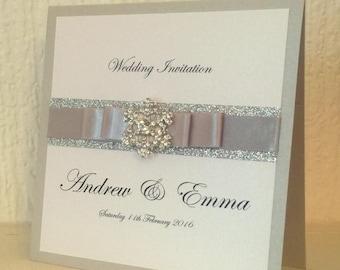 Silver snowflake Wedding Invitation, Winter Wedding, Glitter Wedding Invitation, Wedding Card, Pocketfold, SAMPLE