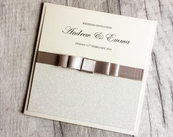 Ivory Wedding Invitation, Glitter Invitation, Ivory Glitter, Pocketfold, Wedding Invitation Card, Wedding Invitation SAMPLE.