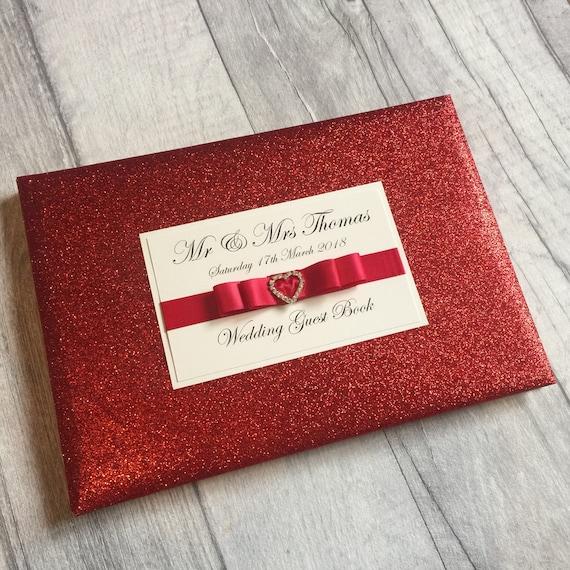 Red Glitter Księga Gości Księga Gości Wesele Książka Gości Etsy